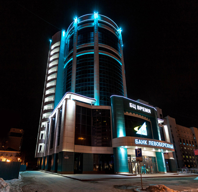Архитектурная подсветка здания БЦ «Время»