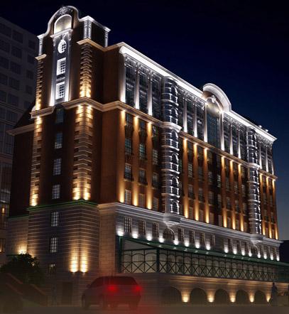 Подсветка фасадов административного здания