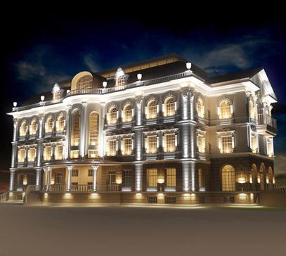 Декоративное освещение офисного здания