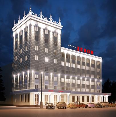 """Подсветка фасадов гостиницы """"Девон"""""""