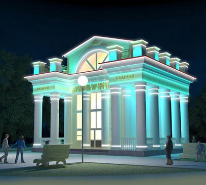 Архитектурная подсветка зданий курорта «Озеро Карачи»