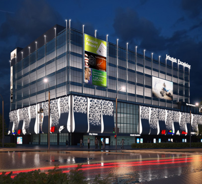 Декоративная подсветка фасадов здания торгово-развлекательного комплекса