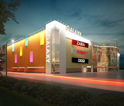 Архитектурное освещение здания ТРЦ «Galaxy»