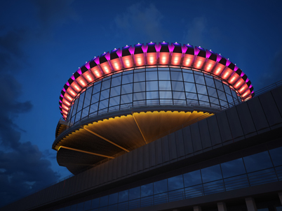 Декоративное освещение здания ресторана