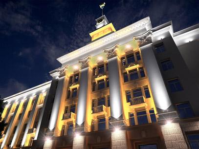 Архитектурная подсветка комплекса зданий на Советской площади