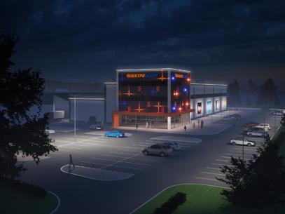 Освещение фасадов «Электроцентра»
