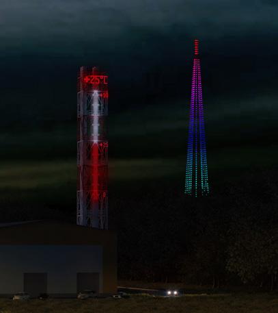 Архитектурное освещение дымовой трубы и радиовышки