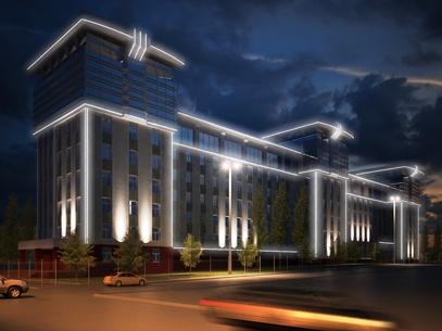 Освещение фасадов здания «Башнефть»